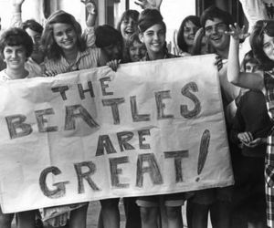 the beatles, black and white, and beatlemania image