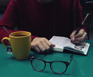 glasses, book, and tea image