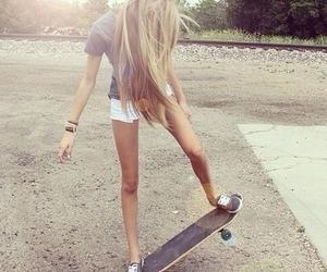 fashion, girl, and skateboard image