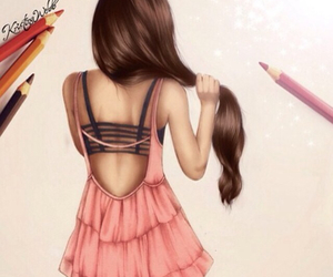 girl, drawing, and hair image
