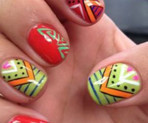 manicure, nail polish, and aztec nails image