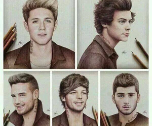 one direction, drawing, and 1d image