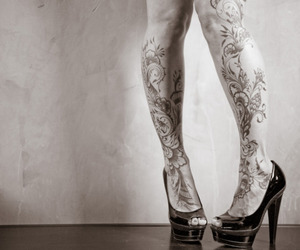 tattoo, legs, and shoes image
