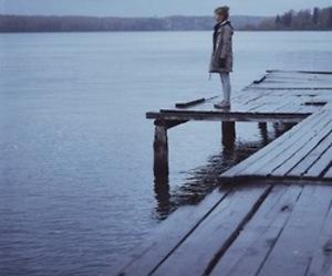 girl, alone, and lake image