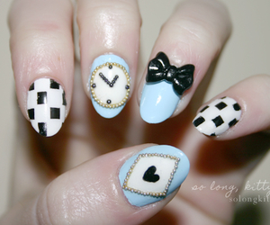 nails, blue, and alice in wonderland image
