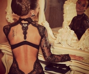 black, lace, and clothing image