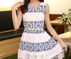 fashion, purple dress, and sleeveless dress image