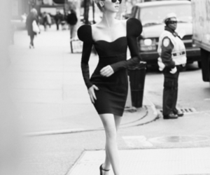 dress, black and white, and model image