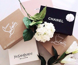 chanel, flowers, and louboutin image
