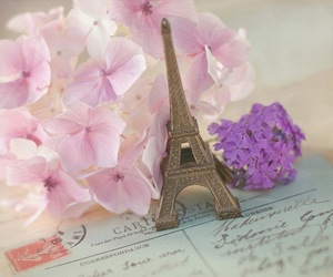 flowers, paris, and eiffel tower image