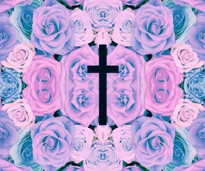 cross, pastel, and rose image