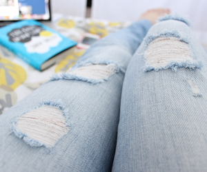jeans, tumblr, and ripped jeans image