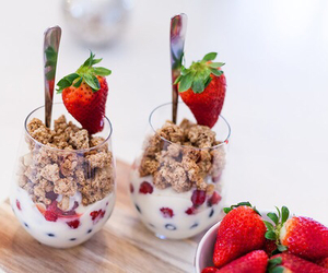 strawberry, food, and breakfast image