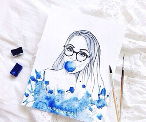 blue, drawing, and girl image