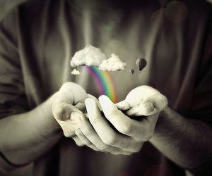 rainbow, hands, and clouds image