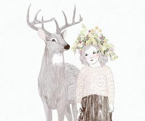 girl, deer, and art image