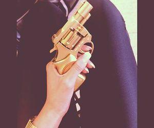 gun, girl, and gold image
