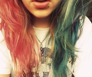 piercing, dyed hair, and hair image