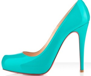 blue, elegant, and red sole shoes image