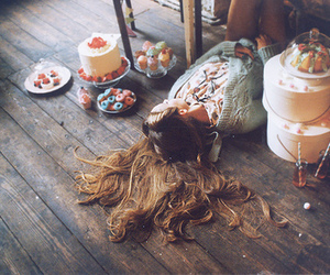 girl, cake, and hair image
