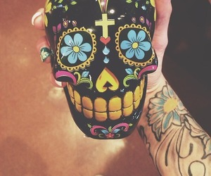 skull, tattoo, and colors image