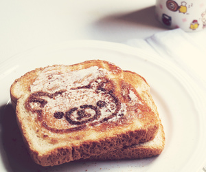 bear, morning, and bread image