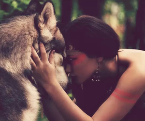 wolf, woman, and cute image