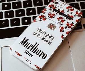 cigarette, iphone, and marlboro image