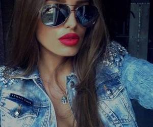 girl, lips, and sunglasses image