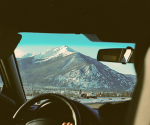car, mountains, and landscape image
