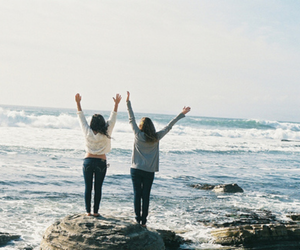 girl, sea, and friends image