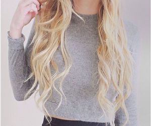 blond, hair, and sweater image