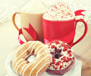 donuts, winter, and hot chocolate image