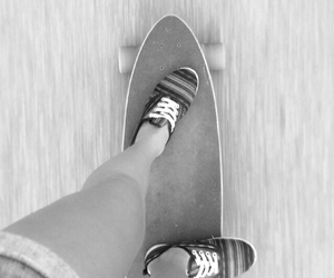 b&w, hipster, and longboard image