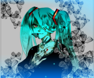 black, vocaloid, and blue image