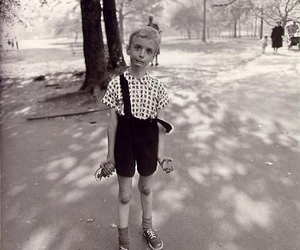 black and white, boy, and trees image