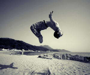 backflip, beach, and black and white image