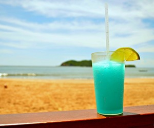 beach, blue, and drink image