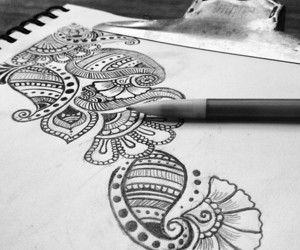 art, drawing, and henna image