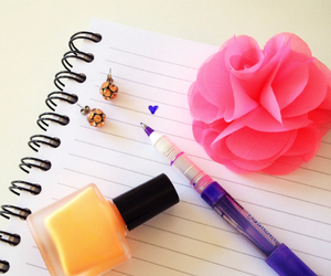 flowers, nail polish, and pen image