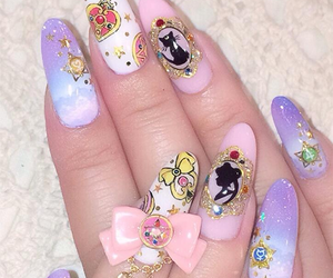nails, kawaii, and sailor moon image