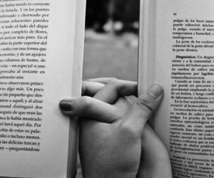black and white, book, and hands image