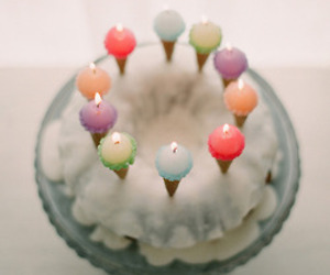 cake, candle, and pastel image