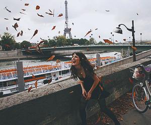girl, paris, and bike image