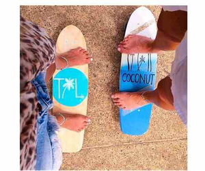 summer, beach, and skateboard image