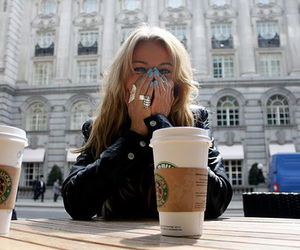 girl, starbucks, and blonde image