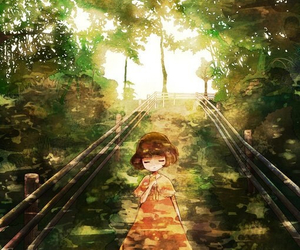 anime, forest, and girl image