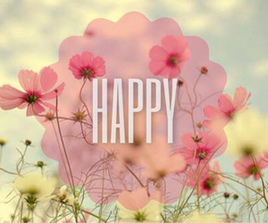 happy, flowers, and spring image