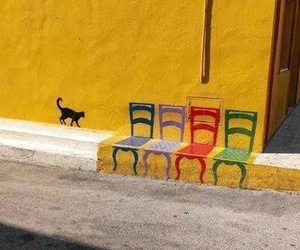 art, chair, and cat image