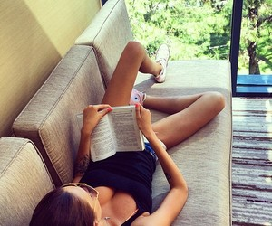 girl, book, and summer image